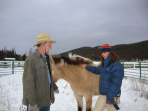 Doc and Zoe talk about Berit's round pen session