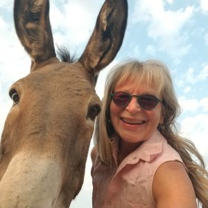 Photo of woman and mule